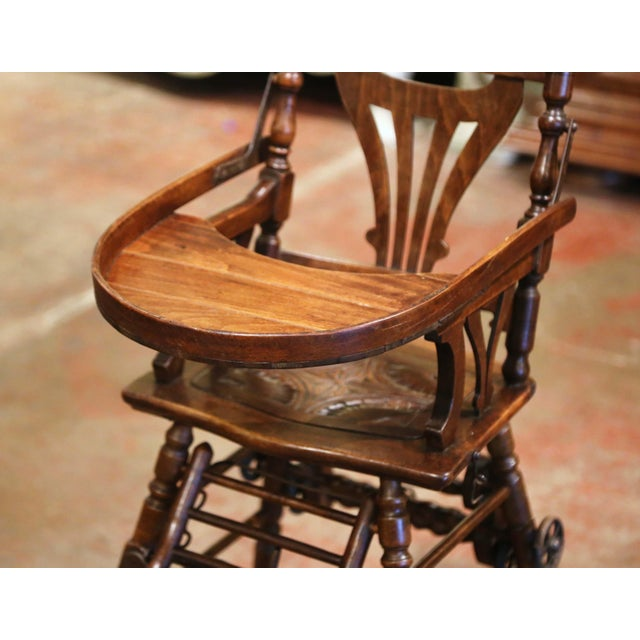 Mid 20th Century Mid-20th Century French Carved Folding Up and Down Child High Chair on Wheels For Sale - Image 5 of 13