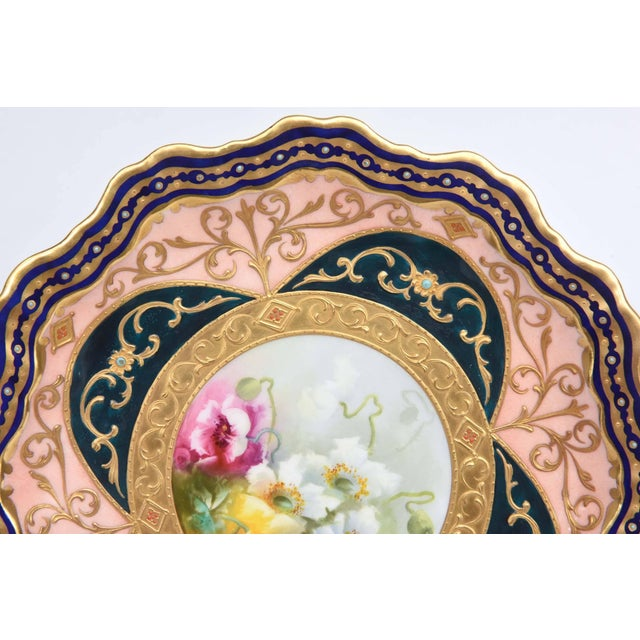 Traditional Exquisite and Elaborate Cabinet or Display Plates Pair, Fine Art Gilt Encrusted For Sale - Image 3 of 9