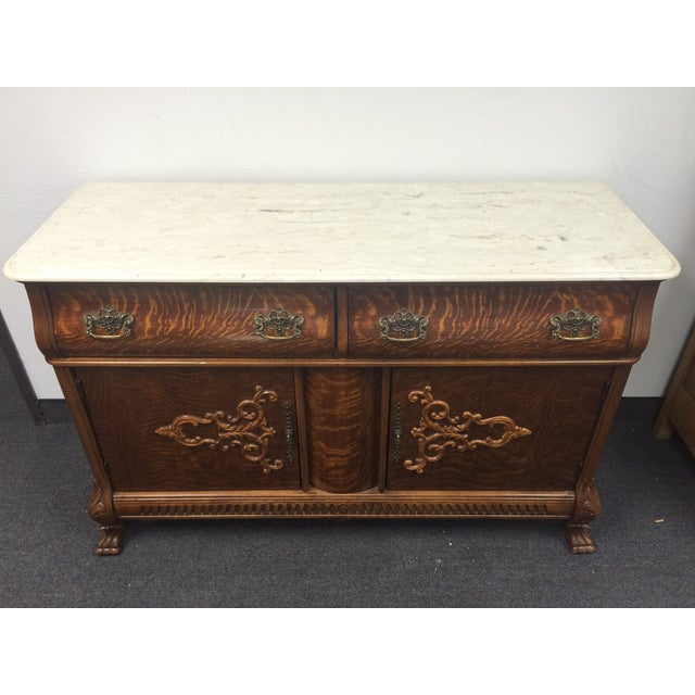 Tiger Maple Marble-Top Buffet with Claw Feet - Image 2 of 9