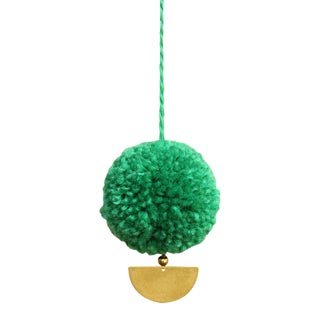 Bali X Cali Christmas Pom-Pom Bauble - Set of 10 - in Lush Green For Sale