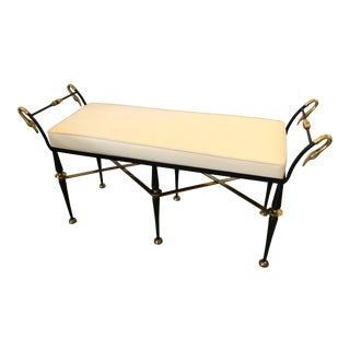 1940s Vintage Neoclassical Swan Motife Black Iron and Brass Bench For Sale