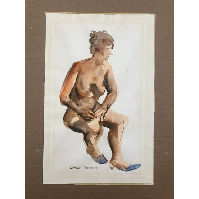 Figurative Seated Female Nude Watercolor by Stanley Brodey, C. 1950s For Sale - Image 3 of 4