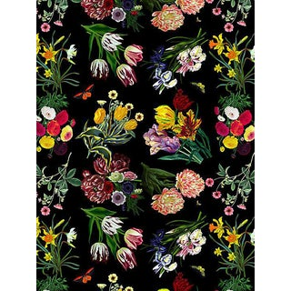 Sample, Scalamandre Nicolette Mayer for Scalamandre Flora & Fauna, Black Wallpaper For Sale
