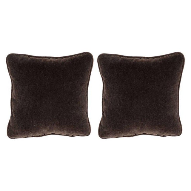 Gorgeous Pair of Square Custom Handmade Pillows in Chestnut Mohair with Piping For Sale In New York - Image 6 of 6