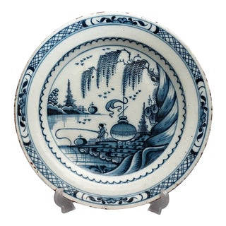 18th C. Delft Chinoiserie Charger With Figure For Sale