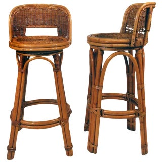 Rattan Bar Stool Pair With Woven Wicker Seats, Set of Two For Sale