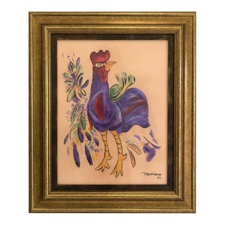 Cuban Artist Mariano Rodriguez Pastel Rooster Drawing, 1980 For Sale