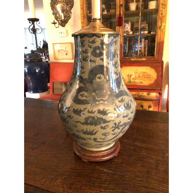 Antique Chinese Hu Form Blue & White Smooth Glaze Ko Ware Vase Lamp For Sale - Image 4 of 12