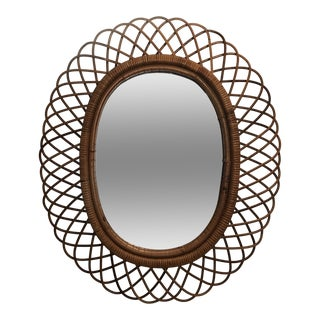 Oval Woven Wicker Italian Mirror