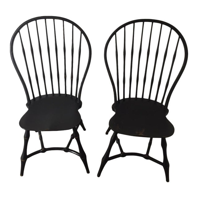 19th Century American Black New England Windsor Chairs - A Pair - Image 1 of 8