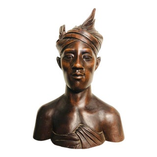 Figurative Mahogany Hardwood Bust of Woman For Sale