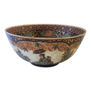 Large Chinoiserie Centerpiece Bowl For Sale