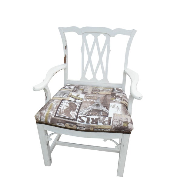 Shabby Chic Chippendale Style Captains Chair - Image 1 of 8