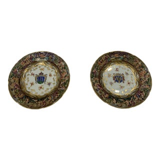 Mid. 19th Century Armoral Plates With Coat of Arms - a Pair For Sale