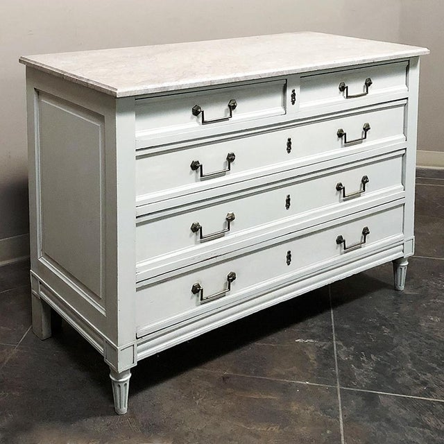 Louis XVI Antique Louis XVI Painted Marble Top Commode For Sale - Image 3 of 13