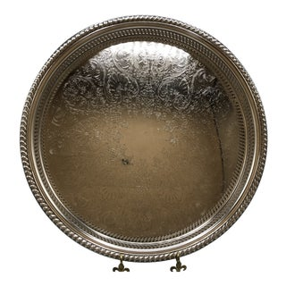 1960s Rogers Silver Plated Shell Pattern Engraved Cocktail Serving Tray. For Sale
