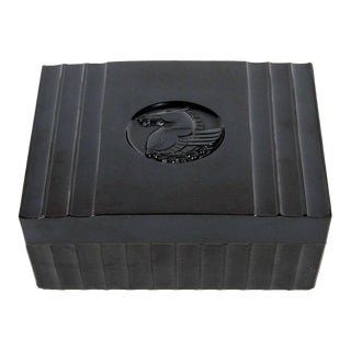 Art Deco Black Bakelite Box with Pegasus Center