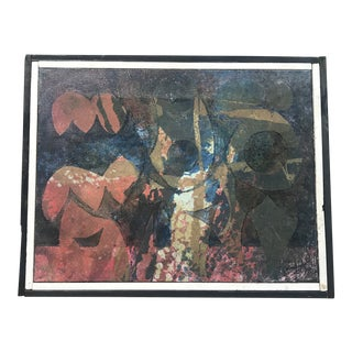 Vintage Abstract Oil Painting Signed Campiglio For Sale