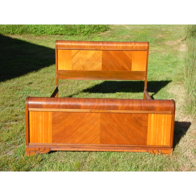 Vintage Art Deco Walnut Full Double Waterfall Bed For Sale - Image 12 of 12