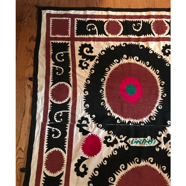 Pink Vintage Uzbek Suzani Hand Embroidered Wall Hanging For Sale - Image 8 of 11