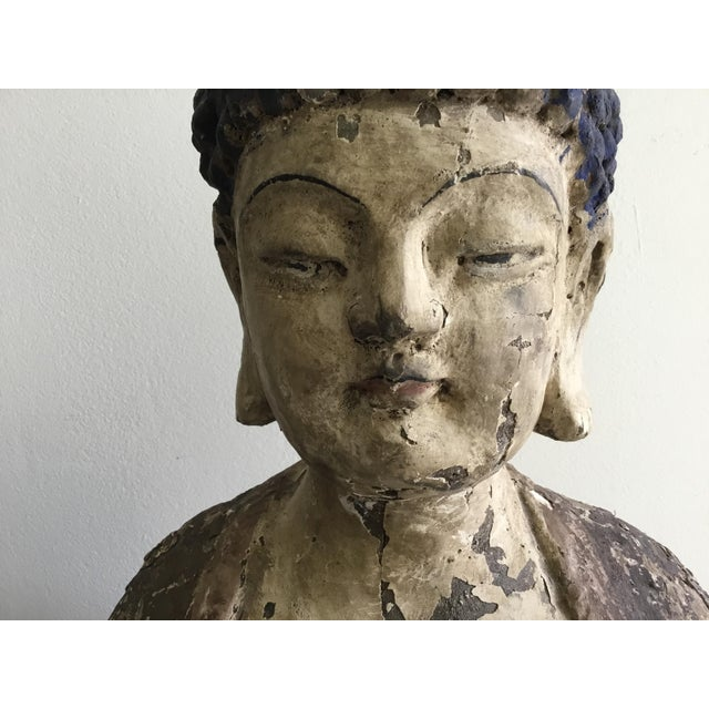 Antique Wooden Carved Buddha Figurine For Sale - Image 11 of 12