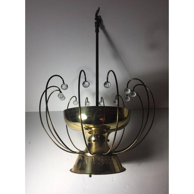 Mid-Century Modern Lightolier Chandelier Ceiling Fixture Lamp For Sale - Image 3 of 10