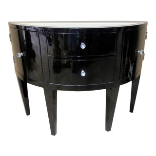 Contemporary Black Lacquered Demilune Console Cabinet With Mirrored Top For Sale