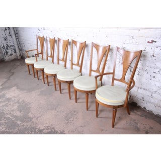 Romweber Mid-Century Modern Cherry and Burl Wood V-Back Dining Chairs, Set of Six Preview