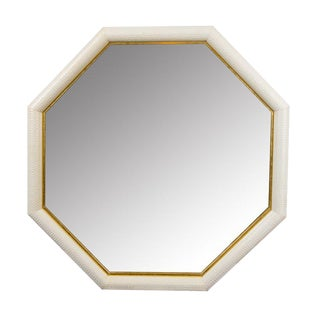 Python Embossed Ivory & Gold Leather Mirror For Sale