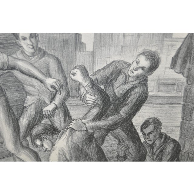 """""""Controversy"""" Social Realism Pencil Signed Lithograph by Jack McMillen For Sale - Image 4 of 8"""
