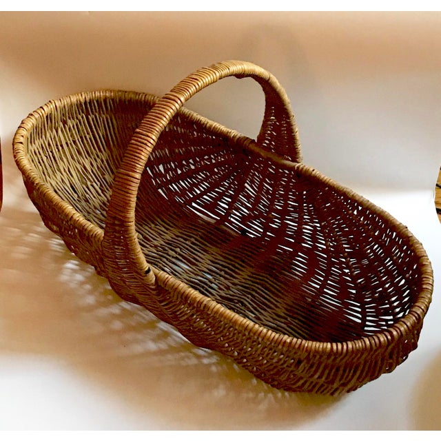 This basket know as a buttocks basket, as gizzard basket, an egg gathering basket, etc was a staple working basket in...