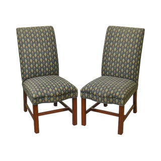Hickory Chair Chippendale Style Pair of Straight Leg Mahogany Parsons Upholstered Side Chairs