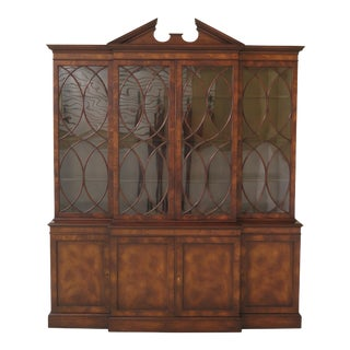 Modern Old Colony English Style Vintage Mahogany Breakfront For Sale