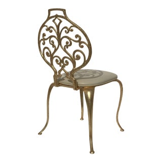 1960s Gold Leafed Vanity Chairs by Thinline Mfg For Sale