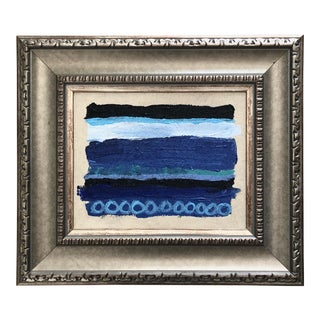 Original Blue and White Abstract, Framed