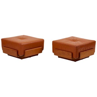 Pair of Solid Oak and Tan Leather Poufs For Sale