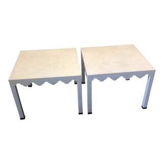 Boho Chic Square White Lacquer End Tables - a Pair