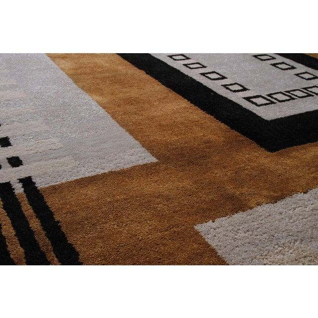 Vintage Mid-Century Hand-Knotted Geometric Rug - 11′8″ × 13′10″ For Sale - Image 4 of 6