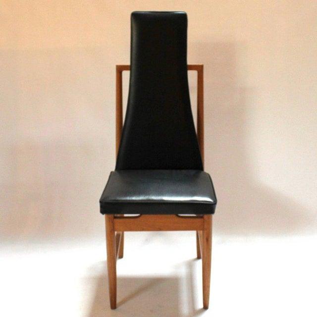 Danish Modern Danish Modern Teak & Black Vinyl Tall-Back Dining Chairs - Set of 4 For Sale - Image 3 of 11