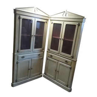 Vintage Beige Painted Corner Cabinets - A Pair For Sale