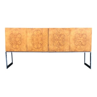 1970s Mid-Century Modern Milo Baughman for Thayer Coggin Burl Credenza on Chrome Base For Sale
