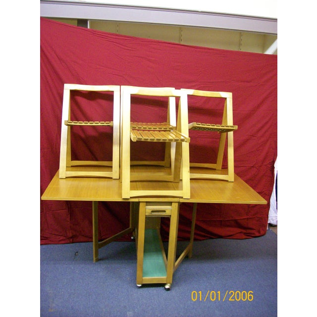 Mid-Century Romanian Modern Drop Leaf Table With 4 Wooden Chairs - Image 6 of 10