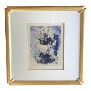 1950s Georges Braque Bouquet De Fleurs a l'Aquarelle Framed Lithograph Print For Sale