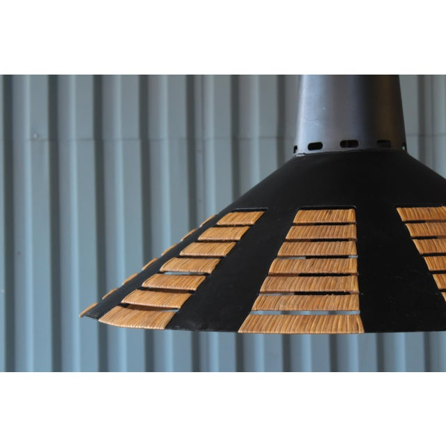 Mid-Century Modern Metal Saucer Light With Rattan Detail, France, 1960s For Sale - Image 3 of 9