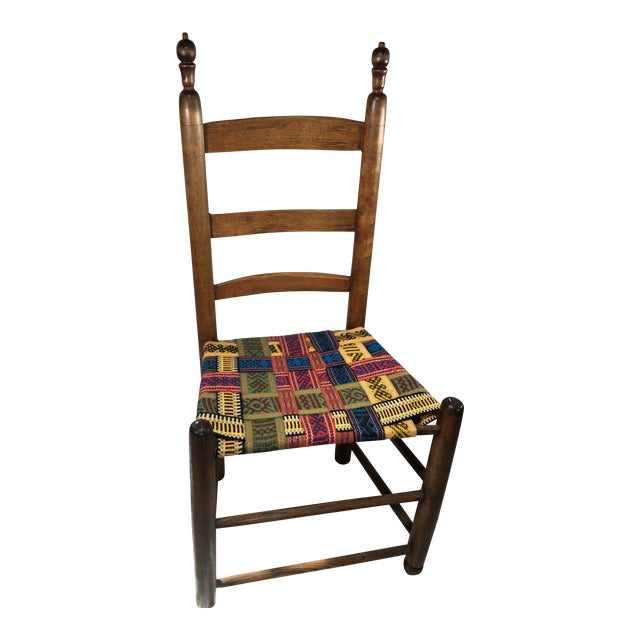1950s Vintage Wood and Multicolor Woven Chair For Sale