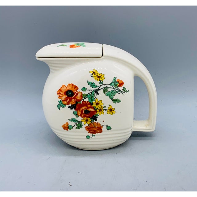 Ceramic 1940s Viktor Schreckengost Designed Floral Jiffy Ware Pitcher For Sale - Image 7 of 13