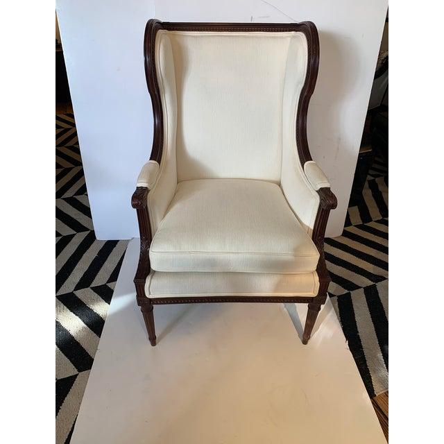 Carved Walnut and Upholstered Wingback Club Chair For Sale - Image 13 of 13