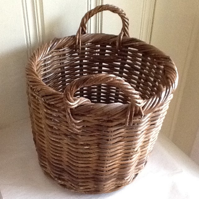 Large Natural Wood Wicker Basket - Image 5 of 6