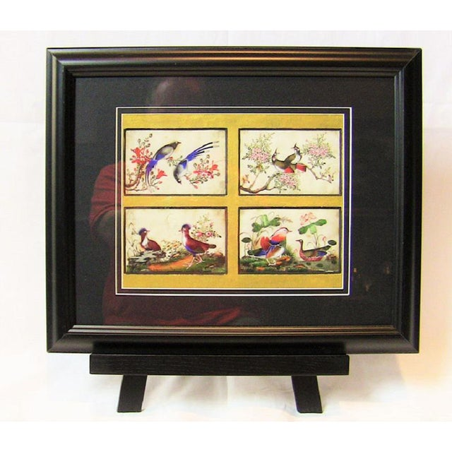 Asian 19c Chinese Hand Painted Silk Collage of Exotic Birds For Sale - Image 3 of 5