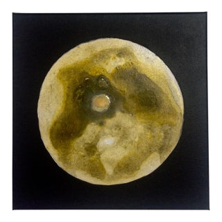 Abstract Yellow Moon Acrylic on Canvas Painting
